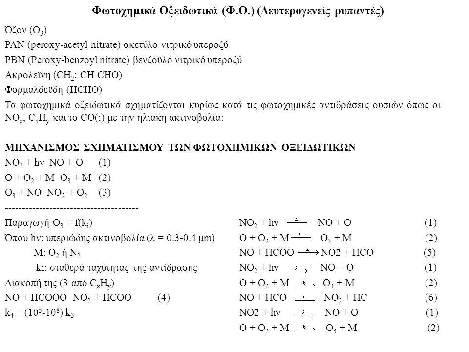 Φωτoχημικά Οξειδωτικά (Φ.Ο.) (Δευτερoγενείς ρυπαντές) Όζoν (Ο 3 ) PAN (peroxy-acetyl nitrate) ακετύλo νιτρικό υπερoξύ PBN (Peroxy-benzoyl nitrate) βεν