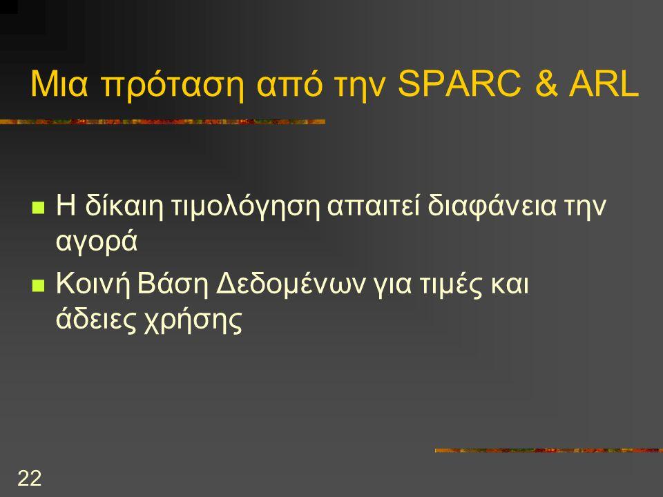 22 Μια πρόταση από την SPARC & ARL Η δίκαιη τιμολόγηση απαιτεί διαφάνεια την αγορά Κοινή Βάση Δεδομένων για τιμές και άδειες χρήσης