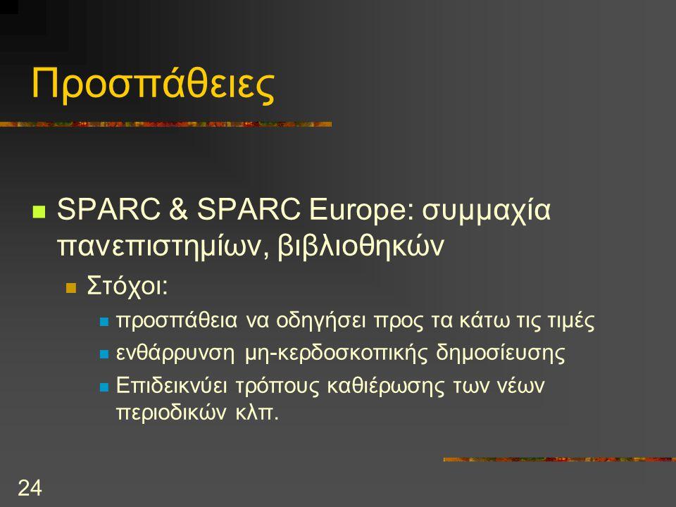 24 Προσπάθειες SPARC & SPARC Europe: συμμαχία πανεπιστημίων, βιβλιοθηκών Στόχοι: προσπάθεια να οδηγήσει προς τα κάτω τις τιμές ενθάρρυνση μη-κερδοσκοπικής δημοσίευσης Επιδεικνύει τρόπους καθιέρωσης των νέων περιοδικών κλπ.