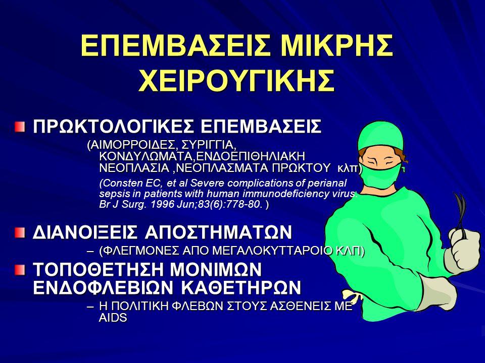 ΕΠΕΜΒΑΣΕΙΣ ΜΙΚΡΗΣ ΧΕΙΡΟΥΓΙΚΗΣ ΠΡΩΚΤΟΛΟΓΙΚΕΣ ΕΠΕΜΒΑΣΕΙΣ (ΑΙΜΟΡΡΟΙΔΕΣ, ΣΥΡΙΓΓΙΑ, ΚΟΝΔΥΛΩΜΑΤΑ,ΕΝΔΟΕΠΙΘΗΛΙΑΚΗ ΝΕΟΠΛΑΣΙΑ,ΝΕΟΠΛΑΣΜΑΤΑ ΠΡΩΚΤΟΥ κλπ). ) (Const