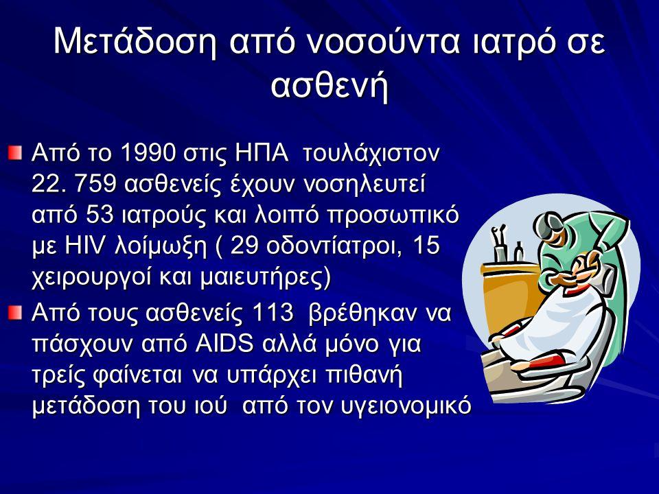Μετάδοση από νοσούντα ιατρό σε ασθενή Από το 1990 στις ΗΠΑ τουλάχιστον 22. 759 ασθενείς έχουν νοσηλευτεί από 53 ιατρούς και λοιπό προσωπικό με HIV λοί