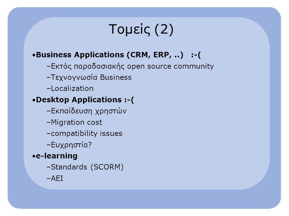 Τομείς (2) Business Applications (CRM, ERP,..) :-( –Εκτός παραδοσιακής open source community –Τεχνογνωσία Business –Localization Desktop Applications :-( –Εκπαίδευση χρηστών –Migration cost –compatibility issues –Ευχρηστία.
