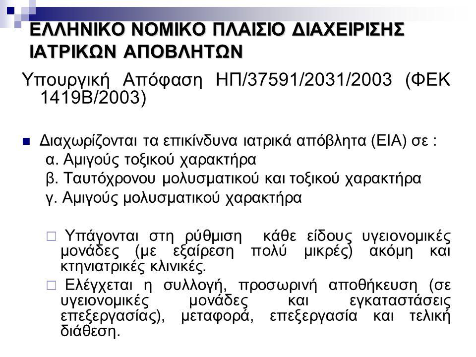 ΕΛΛΗΝΙΚΟ ΝΟΜΙΚΟ ΠΛΑΙΣΙΟ ΔΙΑΧΕΙΡΙΣΗΣ ΙΑΤΡΙΚΩΝ ΑΠΟΒΛΗΤΩΝ Υπουργική Απόφαση ΗΠ/37591/2031/2003 (ΦΕΚ 1419Β/2003) Διαχωρίζονται τα επικίνδυνα ιατρικά απόβλ