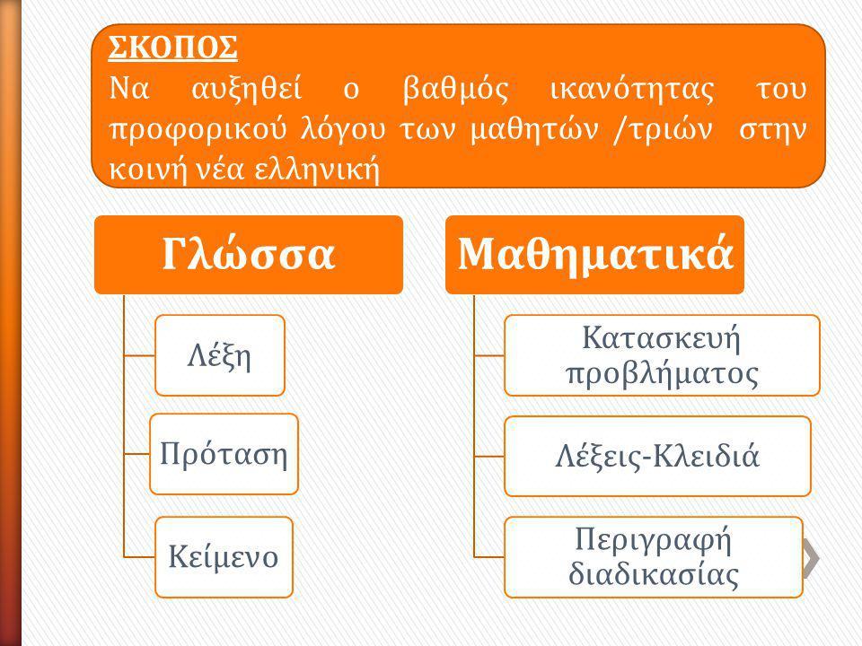 Γλώσσα ΛέξηΠρότασηΚείμενο Μαθηματικά Κατασκευή προβλήματος Λέξεις-Κλειδιά Περιγραφή διαδικασίας ΣΚΟΠΟΣ Να αυξηθεί ο βαθμός ικανότητας του προφορικού λόγου των μαθητών /τριών στην κοινή νέα ελληνική