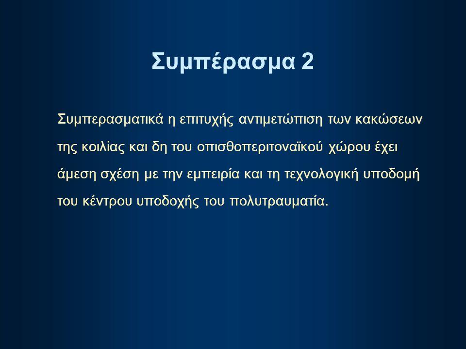 Συμπέρασμα 2 Συμπερασματικά η επιτυχής αντιμετώπιση των κακώσεων της κοιλiας και δη του οπισθοπεριτοναϊκού χώρου έχει άμεση σχέση με την εμπειρία και