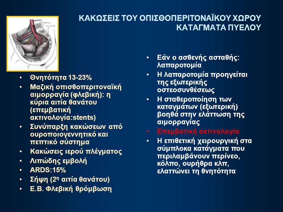 ΚΑΚΩΣΕΙΣ ΤΟΥ ΟΠΙΣΘΟΠΕΡΙΤΟΝΑΪΚΟΥ ΧΩΡΟΥ ΚΑΤΑΓΜΑΤΑ ΠΥΕΛΟΥ Θνητότητα 13-23% Μαζική οπισθοπεριτοναϊκή αιμορραγία (φλεβική): η κύρια αιτία θανάτου (επεμβατι