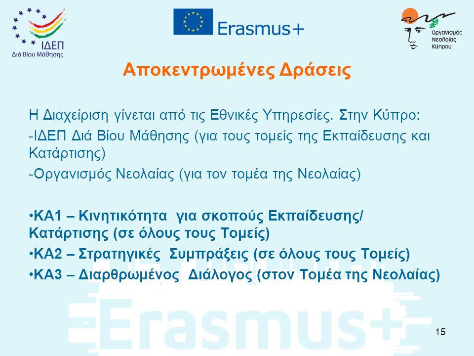 Αποκεντρωμένες Δράσεις Η Διαχείριση γίνεται από τις Εθνικές Υπηρεσίες. Στην Κύπρο: -ΙΔΕΠ Διά Βίου Μάθησης (για τους τομείς της Εκπαίδευσης και Κατάρτι
