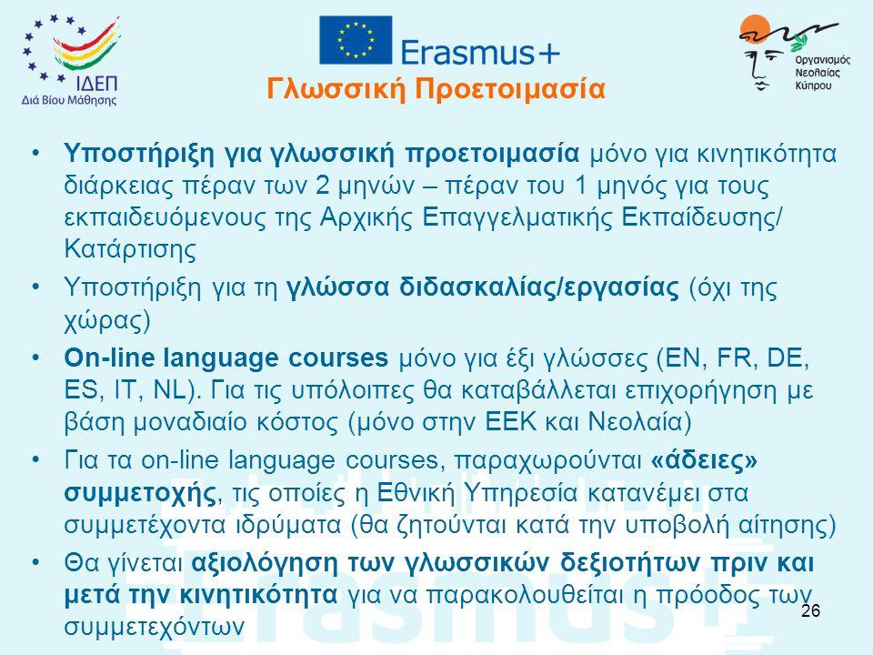 Γλωσσική Προετοιμασία Υποστήριξη για γλωσσική προετοιμασία μόνο για κινητικότητα διάρκειας πέραν των 2 μηνών – πέραν του 1 μηνός για τους εκπαιδευόμεν