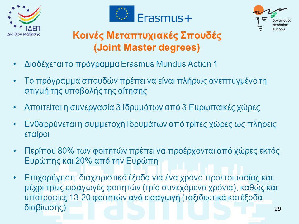 Κοινές Μεταπτυχιακές Σπουδές (Joint Master degrees) Διαδέχεται το πρόγραμμα Erasmus Mundus Αction 1 Το πρόγραμμα σπουδών πρέπει να είναι πλήρως ανεπτυ