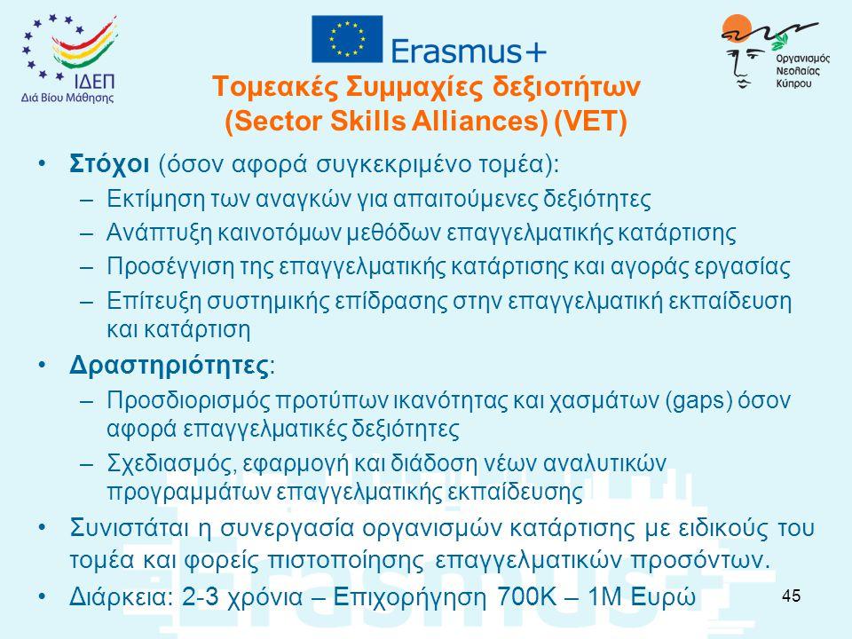 Τομεακές Συμμαχίες δεξιοτήτων (Sector Skills Alliances) (VET) Στόχοι (όσον αφορά συγκεκριμένο τομέα): –Εκτίμηση των αναγκών για απαιτούμενες δεξιότητες –Ανάπτυξη καινοτόμων μεθόδων επαγγελματικής κατάρτισης –Προσέγγιση της επαγγελματικής κατάρτισης και αγοράς εργασίας –Επίτευξη συστημικής επίδρασης στην επαγγελματική εκπαίδευση και κατάρτιση Δραστηριότητες: –Προσδιορισμός προτύπων ικανότητας και χασμάτων (gaps) όσον αφορά επαγγελματικές δεξιότητες –Σχεδιασμός, εφαρμογή και διάδοση νέων αναλυτικών προγραμμάτων επαγγελματικής εκπαίδευσης Συνιστάται η συνεργασία οργανισμών κατάρτισης με ειδικούς του τομέα και φορείς πιστοποίησης επαγγελματικών προσόντων.