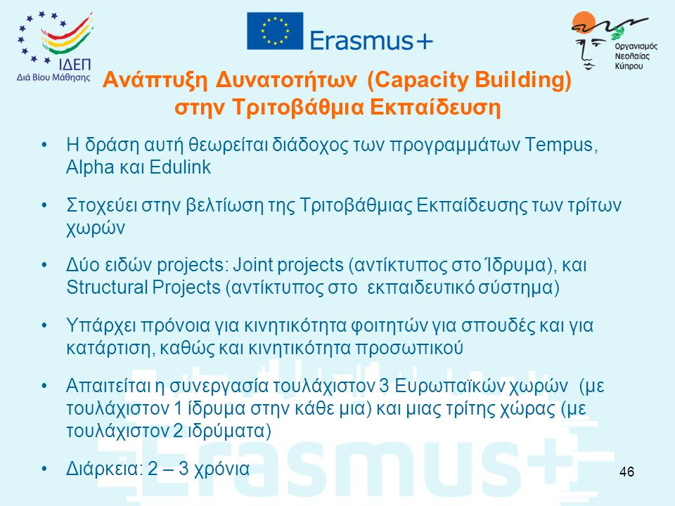 Ανάπτυξη Δυνατοτήτων (Capacity Building) στην Τριτοβάθμια Εκπαίδευση H δράση αυτή θεωρείται διάδοχος των προγραμμάτων Tempus, Alpha και Edulink Στοχεύει στην βελτίωση της Τριτοβάθμιας Εκπαίδευσης των τρίτων χωρών Δύο ειδών projects: Joint projects (αντίκτυπος στο Ίδρυμα), και Structural Projects (αντίκτυπος στο εκπαιδευτικό σύστημα) Υπάρχει πρόνοια για κινητικότητα φοιτητών για σπουδές και για κατάρτιση, καθώς και κινητικότητα προσωπικού Απαιτείται η συνεργασία τουλάχιστον 3 Ευρωπαϊκών χωρών (με τουλάχιστον 1 ίδρυμα στην κάθε μια) και μιας τρίτης χώρας (με τουλάχιστον 2 ιδρύματα) Διάρκεια: 2 – 3 χρόνια 46
