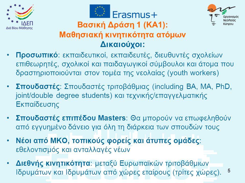 Βασική Δράση 1 (KA1): Μαθησιακή κινητικότητα ατόμων Δικαιούχοι: Προσωπικό: εκπαιδευτικοί, εκπαιδευτές, διευθυντές σχολείων επιθεωρητές, σχολικοί και παιδαγωγικοί σύμβουλοι και άτομα που δραστηριοποιούνται στον τομέα της νεολαίας (youth workers) Σπουδαστές: Σπουδαστές τριτοβάθμιας (including BA, MA, PhD, joint/double degree students) και τεχνικής/επαγγελματικής Εκπαίδευσης Σπουδαστές επιπέδου Masters: Θα μπορούν να επωφεληθούν από εγγυημένο δάνειο για όλη τη διάρκεια των σπουδών τους Νέοι από ΜΚΟ, τοπικούς φορείς και άτυπες ομάδες: εθελοντισμός και ανταλλαγές νέων Διεθνής κινητικότητα: μεταξύ Ευρωπαϊκών τριτοβάθμιων Ιδρυμάτων και Ιδρυμάτων από χώρες εταίρους (τρίτες χώρες).