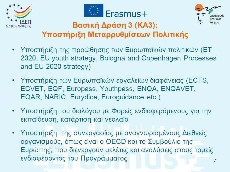 Βασική Δράση 3 (ΚΑ3): Υποστήριξη Μεταρρυθμίσεων Πολιτικής Υποστήριξη της προώθησης των Ευρωπαϊκών πολιτικών (ET 2020, EU youth strategy, Bologna and Copenhagen Processes and EU 2020 strategy) Υποστήριξη των Ευρωπαϊκών εργαλείων διαφάνειας (ECTS, ECVET, EQF, Europass, Youthpass, ENQA, ENQAVET, EQAR, NARIC, Eurydice, Euroguidance etc.) Υποστήριξη του διαλόγου με Φορείς ενδιαφερόμενους για την εκπαίδευση, κατάρτιση και νεολαία Υποστήριξη της συνεργασίας με αναγνωρισμένους Διεθνείς οργανισμούς, όπως είναι ο OECD και το Συμβούλιο της Ευρώπης, που διενεργούν μελέτες και αναλύσεις στους τομείς ενδιαφέροντος του Προγράμματος 7