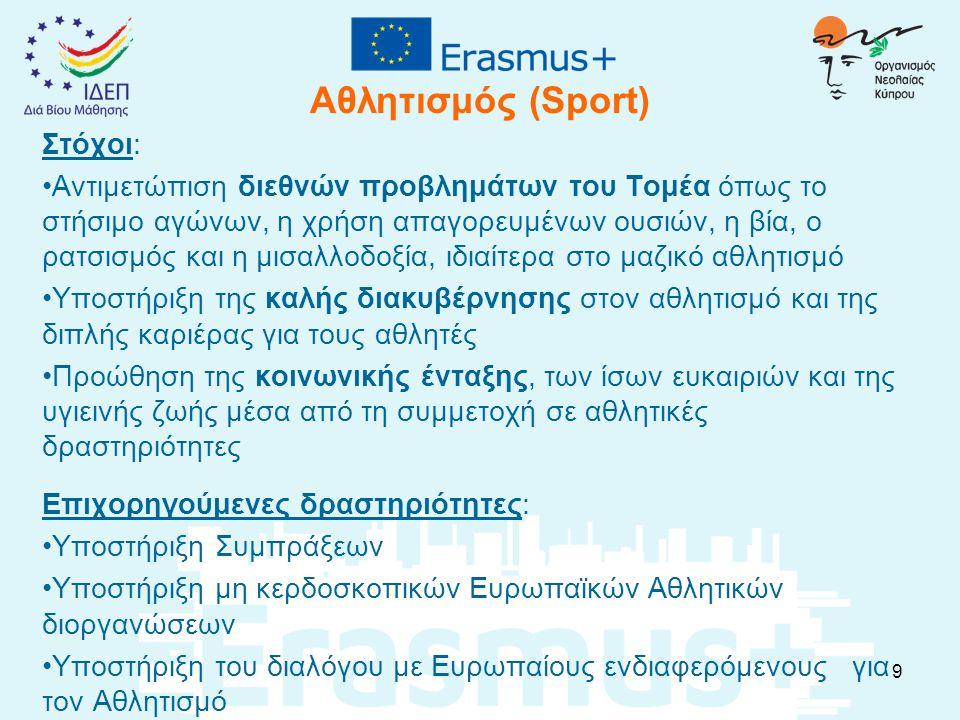 Προϋπολογισμός του Erasmus+ (1/3) Συνολικός Προϋπολογισμός σε Ευρωπαϊκό επίπεδο, για όλη την περίοδο 2014-20: 14.7 δισεκατομμύρια Ευρώ Προϋπολογισμός για την Κύπρο, για το 2015 για όλους τους τομείς : € 8.162.522 Προϋπολογισμός για την Κύπρο ανά κεφάλαιο: Εκπαίδευση και Κατάρτιση: € 5.953.365 Νεολαία: € 2.209.157 10