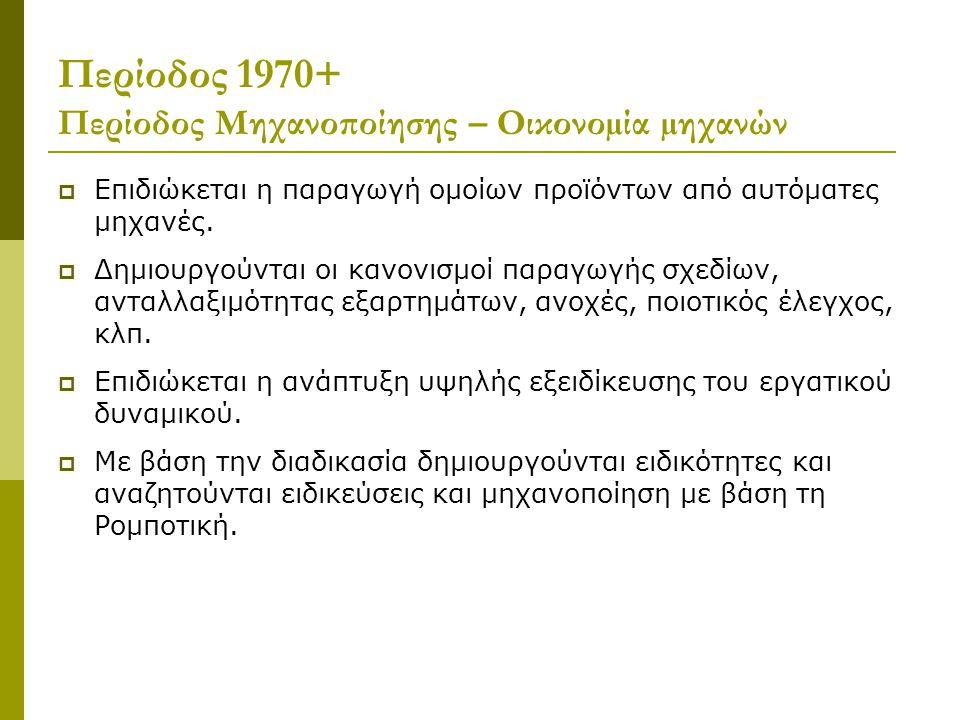 Περίοδος 1970+ Περίοδος Μηχανοποίησης – Οικονοµία µηχανών  Επιδιώκεται η παραγωγή οµοίων προϊόντων από αυτόµατες µηχανές.  Δηµιουργούνται οι κανονισ