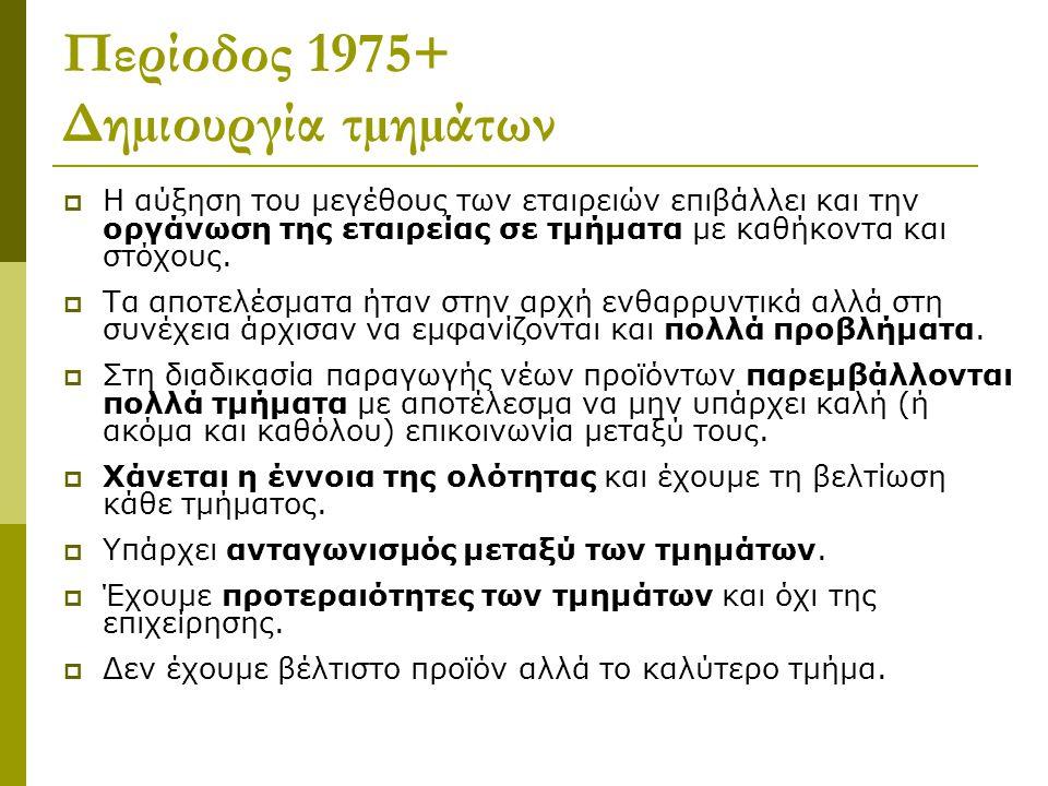 Περίοδος 1975+ Δηµιουργία τµηµάτων  Η αύξηση του µεγέθους των εταιρειών επιβάλλει και την οργάνωση της εταιρείας σε τµήµατα µε καθήκοντα και στόχους.