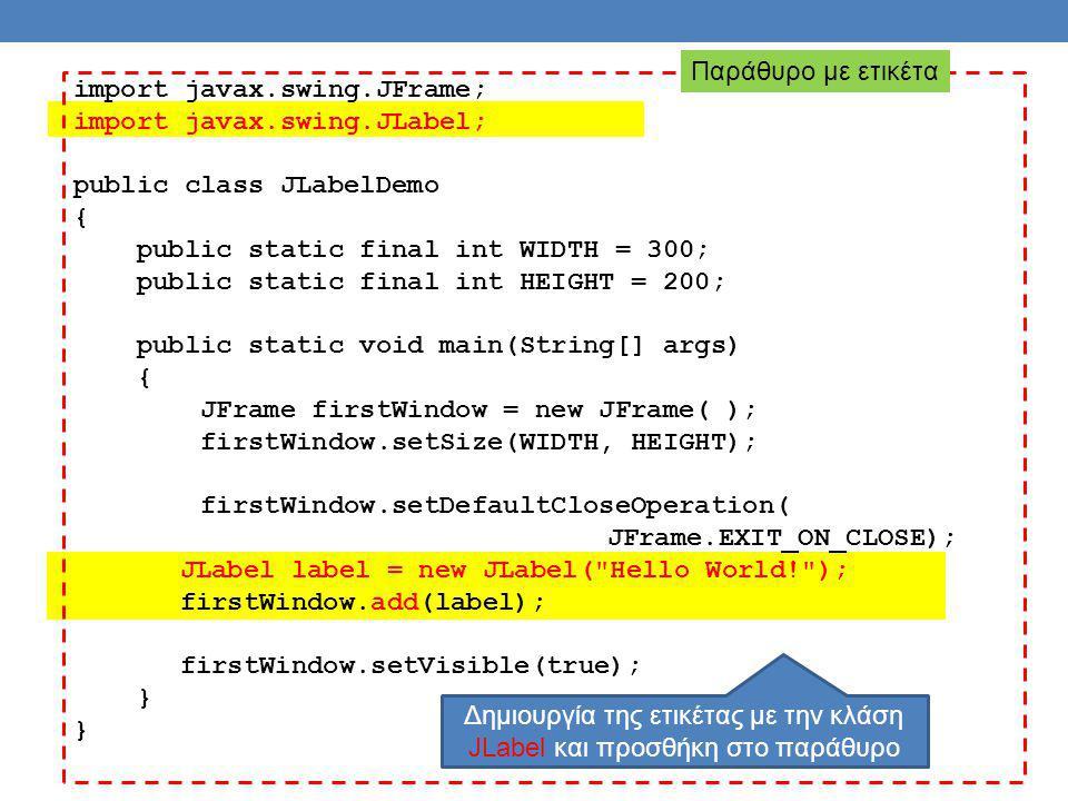 import javax.swing.JFrame; import javax.swing.JLabel; public class JLabelDemo { public static final int WIDTH = 300; public static final int HEIGHT = 200; public static void main(String[] args) { JFrame firstWindow = new JFrame( ); firstWindow.setSize(WIDTH, HEIGHT); firstWindow.setDefaultCloseOperation( JFrame.EXIT_ON_CLOSE); JLabel label = new JLabel( Hello World! ); firstWindow.add(label); firstWindow.setVisible(true); } Παράθυρο με ετικέτα Δημιουργία της ετικέτας με την κλάση JLabel και προσθήκη στο παράθυρο