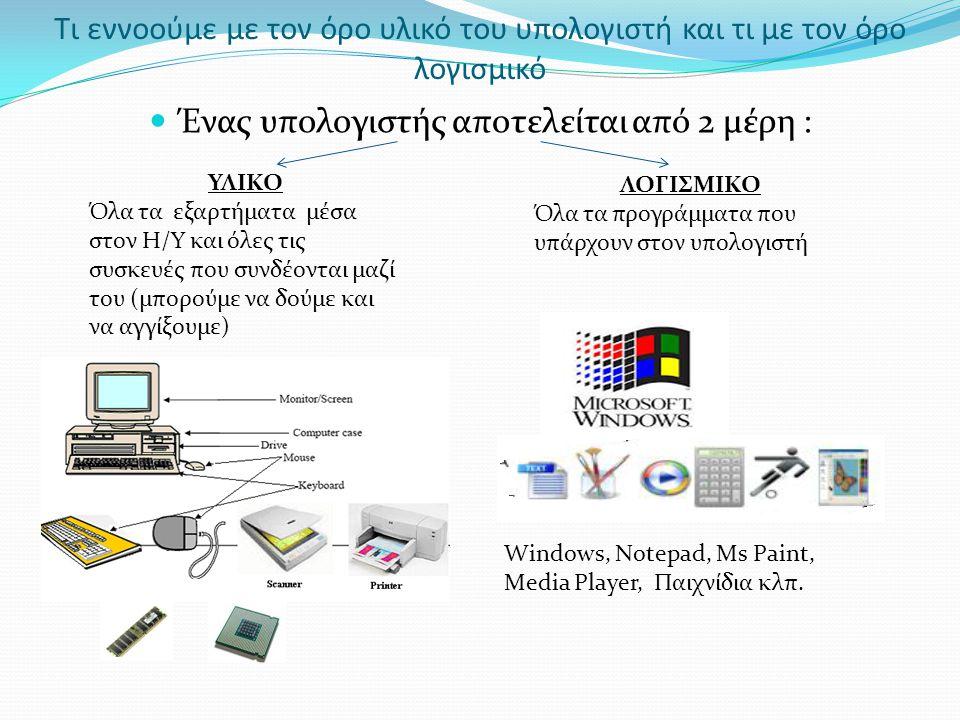 Tι εννοούμε με τον όρο υλικό του υπολογιστή και τι με τον όρο λογισμικό Ένας υπολογιστής αποτελείται από 2 μέρη : ΥΛΙΚΟ Όλα τα εξαρτήματα μέσα στον Η/