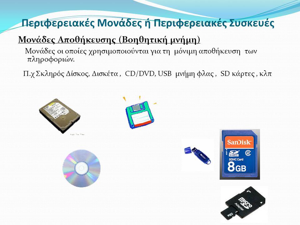 Μονάδες Αποθήκευσης (Βοηθητική μνήμη) Μονάδες οι οποίες χρησιμοποιούνται για τη μόνιμη αποθήκευση των πληροφοριών. Περιφερειακές Μονάδες ή Περιφερειακ