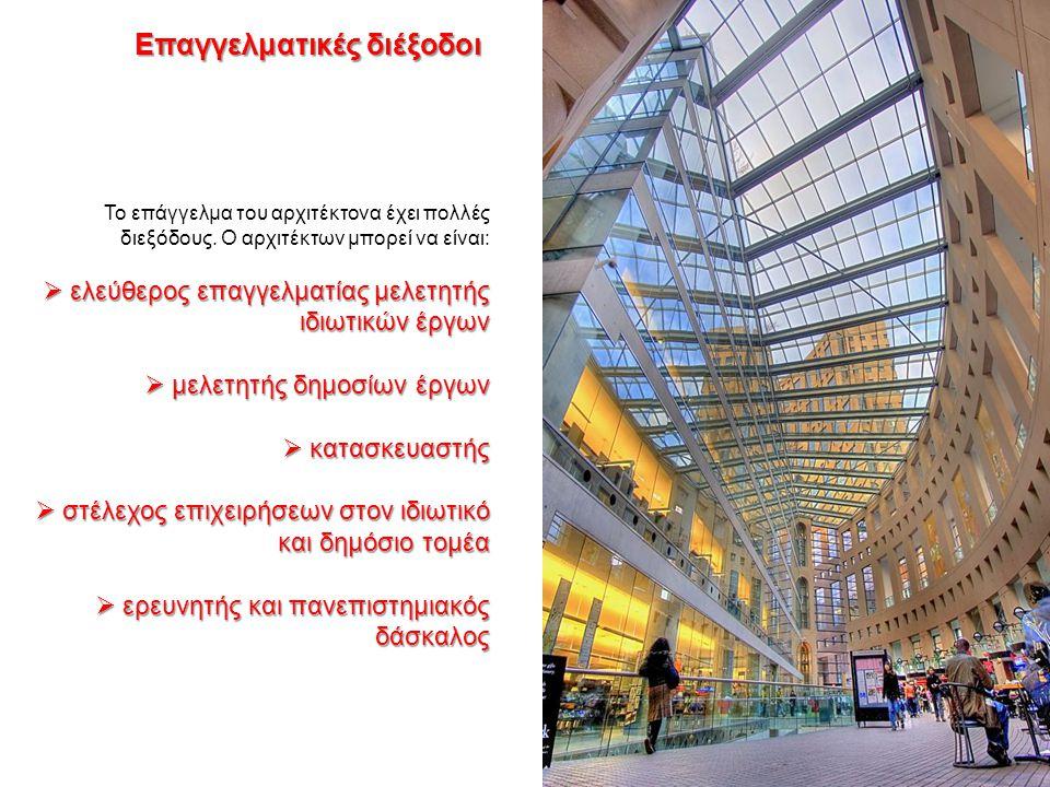 Το επάγγελμα του αρχιτέκτονα έχει πολλές διεξόδους. Ο αρχιτέκτων μπορεί να είναι:  ελεύθερος επαγγελματίας μελετητής ιδιωτικών έργων  μελετητής δημο
