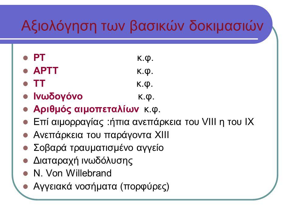 Αξιολόγηση των βασικών δοκιμασιών ΡΤ κ.φ.ΑΡΤΤ κ.φ.
