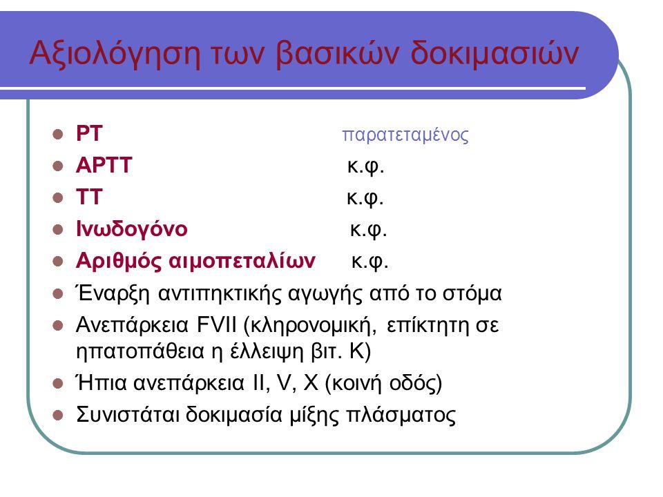 Αξιολόγηση των βασικών δοκιμασιών ΡΤ παρατεταμένος ΑΡΤΤ κ.φ.