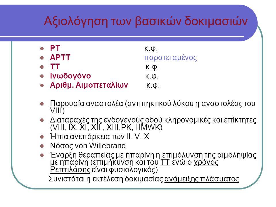Αξιολόγηση των βασικών δοκιμασιών ΡΤ κ.φ.ΑΡΤΤ παρατεταμένος ΤΤ κ.φ.
