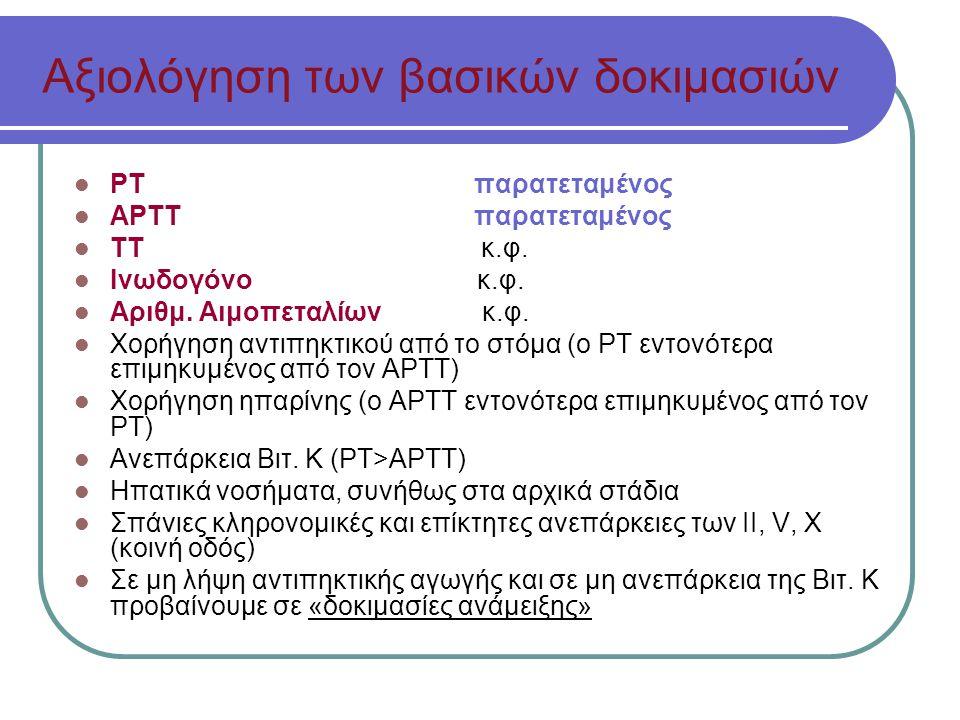 Αξιολόγηση των βασικών δοκιμασιών ΡΤ παρατεταμένος ΑΡΤΤ παρατεταμένος ΤΤ κ.φ.