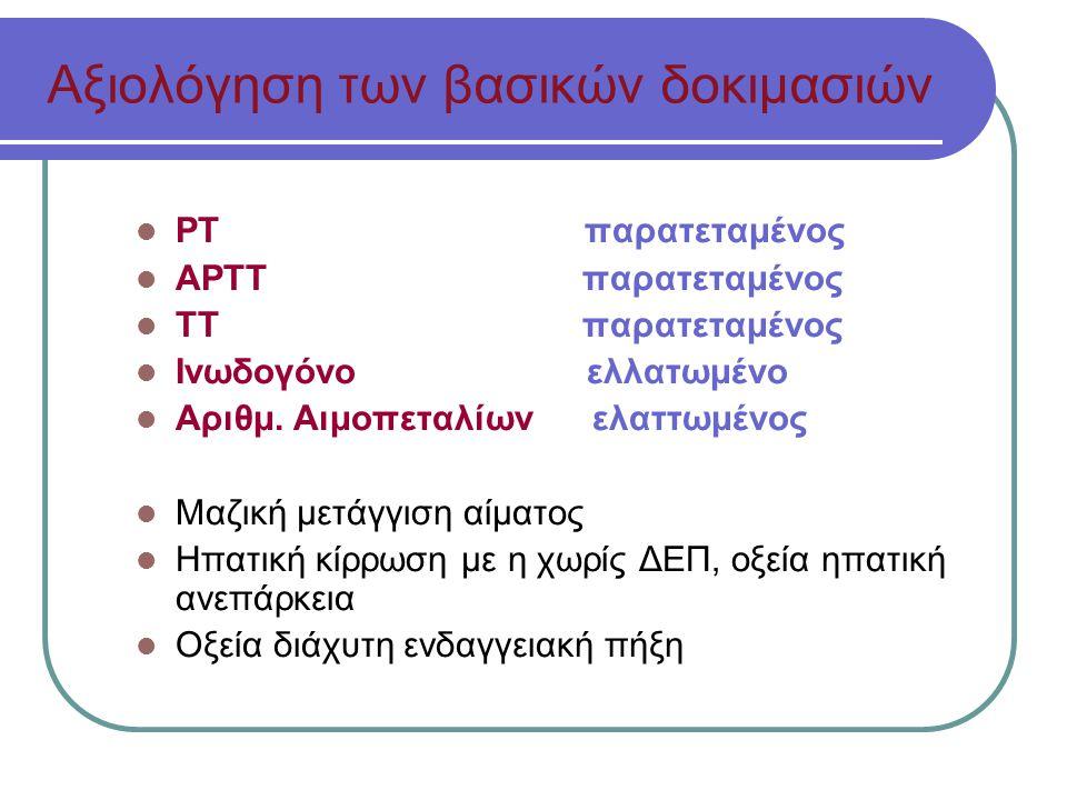 Αξιολόγηση των βασικών δοκιμασιών ΡΤ παρατεταμένος ΑΡΤΤ παρατεταμένος ΤΤ παρατεταμένος Ινωδογόνο ελλατωμένο Αριθμ.
