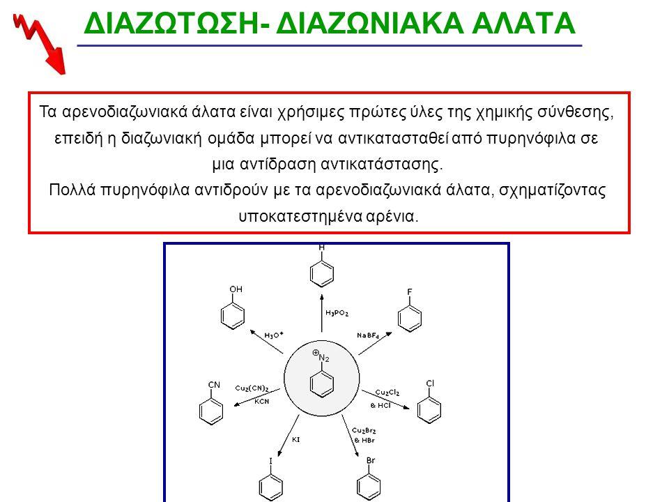 ΔΙΑΖΩΤΩΣΗ- ΔΙΑΖΩΝΙΑΚΑ ΑΛΑΤΑ Τα αρενοδιαζωνιακά άλατα είναι χρήσιμες πρώτες ύλες της χημικής σύνθεσης, επειδή η διαζωνιακή ομάδα μπορεί να αντικατασταθεί από πυρηνόφιλα σε μια αντίδραση αντικατάστασης.