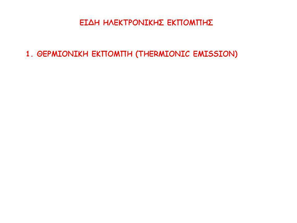 1.ΘΕΡΜΙΟΝΙΚΗ ΕΚΠΟΜΠΗ (THERMIONIC EMISSION)