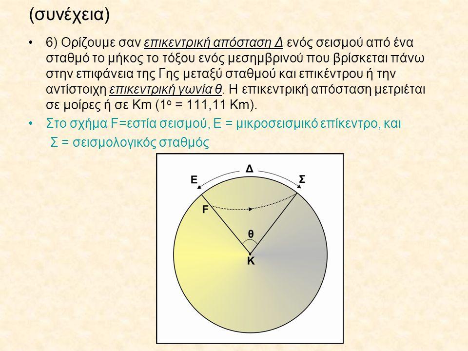 (συνέχεια) επικεντρική απόσταση Δ επικεντρική γωνία θ6) Ορίζουμε σαν επικεντρική απόσταση Δ ενός σεισμού από ένα σταθμό το μήκος το τόξου ενός μεσημβρινού που βρίσκεται πάνω στην επιφάνεια της Γης μεταξύ σταθμού και επικέντρου ή την αντίστοιχη επικεντρική γωνία θ.