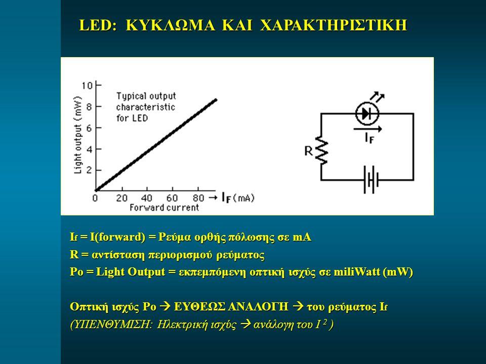 LED: ΚΥΚΛΩΜΑ ΚΑΙ ΧΑΡΑΚΤΗΡΙΣΤΙΚΗ I f = I(forward) = Ρεύμα ορθής πόλωσης σε mA R = αντίσταση περιορισμού ρεύματος Po = Light Output = εκπεμπόμενη οπτική