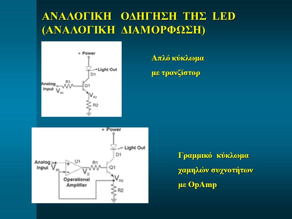 ΑΝΑΛΟΓΙΚΗ ΟΔΗΓΗΣΗ ΤΗΣ LED (ΑΝΑΛΟΓΙΚΗ ΔΙΑΜΟΡΦΩΣΗ) Απλό κύκλωμα με τρανζίστορ Γραμμικό κύκλωμα χαμηλών συχνοτήτων με OpAmp