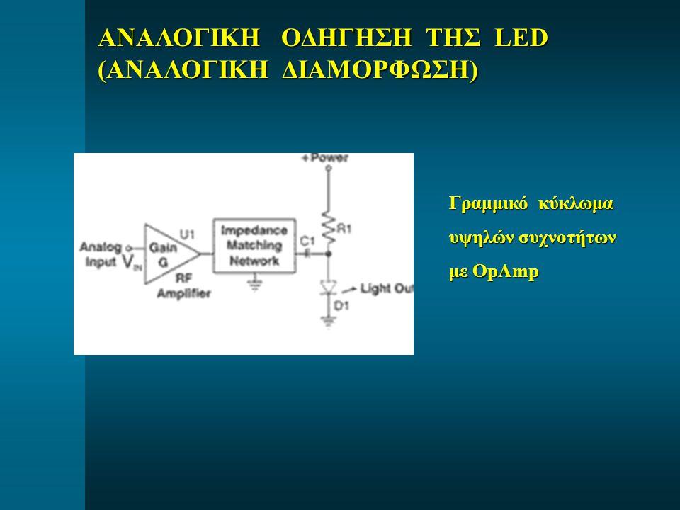 Γραμμικό κύκλωμα υψηλών συχνοτήτων με OpAmp ΑΝΑΛΟΓΙΚΗ ΟΔΗΓΗΣΗ ΤΗΣ LED (ΑΝΑΛΟΓΙΚΗ ΔΙΑΜΟΡΦΩΣΗ)
