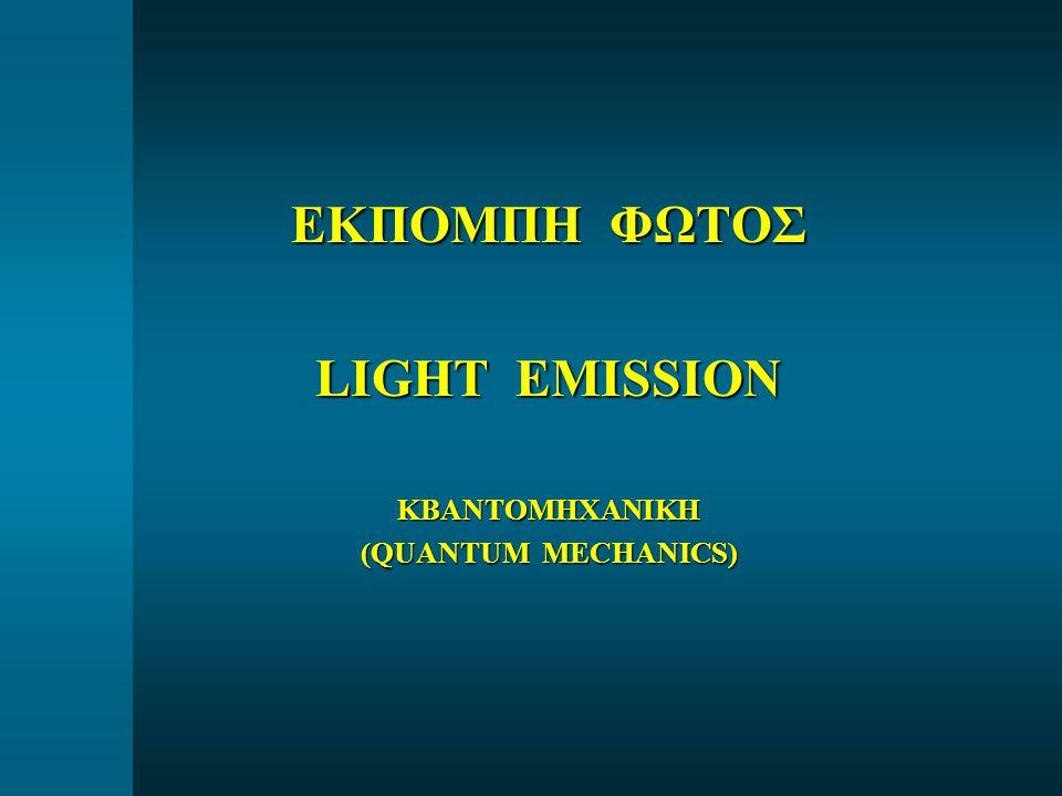 ΕΚΠΟΜΠΗ ΦΩΤΟΣ LIGHT EMISSION ΚΒΑΝΤΟΜΗΧΑΝΙΚΗ (QUANTUM MECHANICS)