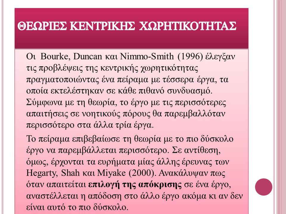 Οι Bοurke, Duncan και Nimmo-Smith (1996) έλεγξαν τις προβλέψεις της κεντρικής χωρητικότητας πραγματοποιώντας ένα πείραμα με τέσσερα έργα, τα οποία εκτ