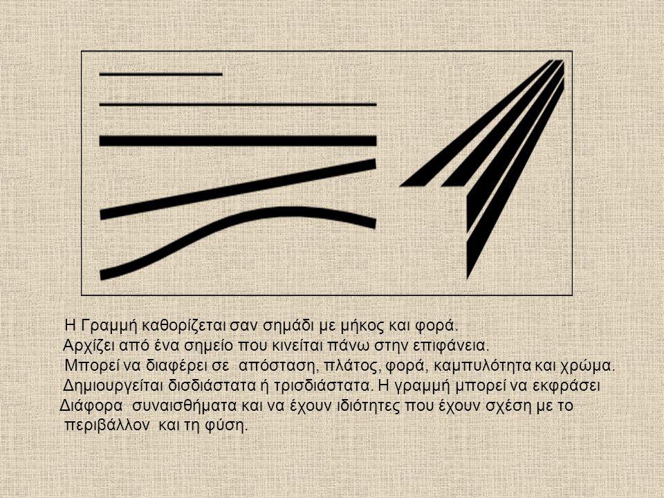 Η Γραμμή καθορίζεται σαν σημάδι με μήκος και φορά. Αρχίζει από ένα σημείο που κινείται πάνω στην επιφάνεια. Μπορεί να διαφέρει σε απόσταση, πλάτος, φο