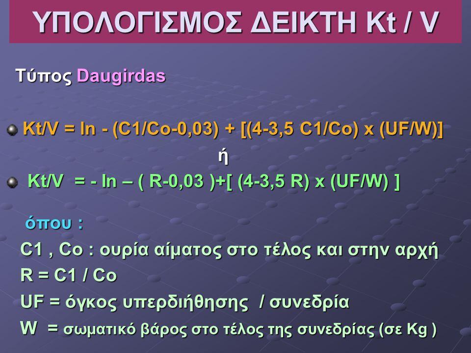 ΥΠΟΛΟΓΙΣΜΟΣ ΔΕΙΚΤΗ Kt / V Τύπος Daugirdas Τύπος Daugirdas Kt/V = ln - (C1/Co-0,03) + [(4-3,5 C1/Co) x (UF/W)] ή Kt/V = - In – ( R-0,03 )+[ (4-3,5 R) x (UF/W) ] Kt/V = - In – ( R-0,03 )+[ (4-3,5 R) x (UF/W) ] όπου : όπου : C1, Co : ουρία αίματος στο τέλος και στην αρχή C1, Co : ουρία αίματος στο τέλος και στην αρχή R = C1 / Co R = C1 / Co UF = όγκος υπερδιήθησης / συνεδρία UF = όγκος υπερδιήθησης / συνεδρία W = σωματικό βάρος στο τέλος της συνεδρίας (σε Kg ) W = σωματικό βάρος στο τέλος της συνεδρίας (σε Kg )
