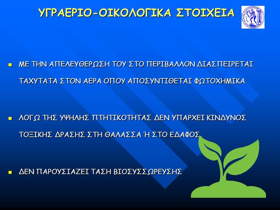 ΥΓΡΑΕΡΙΟ-ΟΙΚΟΛΟΓΙΚΑ ΣΤΟΙΧΕΙΑ ΜΕ ΤΗΝ ΑΠΕΛΕΥΘΕΡΩΣΗ ΤΟΥ ΣΤΟ ΠΕΡΙΒΑΛΛΟΝ ΔΙΑΣΠΕΙΡΕΤΑΙ ΤΑΧΥΤΑΤΑ ΣΤΟΝ ΑΕΡΑ ΟΠΟΥ ΑΠΟΣΥΝΤΙΘΕΤΑΙ ΦΩΤΟΧΗΜΙΚΑ ΜΕ ΤΗΝ ΑΠΕΛΕΥΘΕΡΩΣΗ