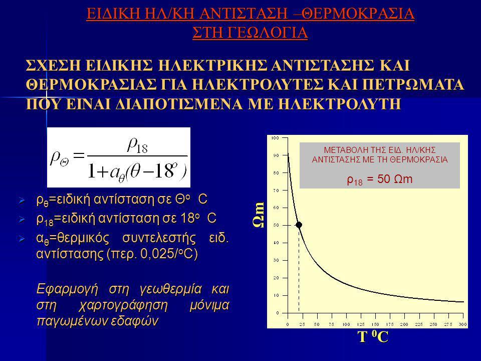 ΕΙΔΙΚΗ ΗΛ/ΚΗ ΑΝΤΙΣΤΑΣΗ –ΘΕΡΜΟΚΡΑΣΙΑ ΣΤΗ ΓΕΩΛΟΓΙΑ  ρ θ =ειδική αντίσταση σε Θ o C  ρ 18 =ειδική αντίσταση σε 18 o C  α θ =θερμικός συντελεστής ειδ.
