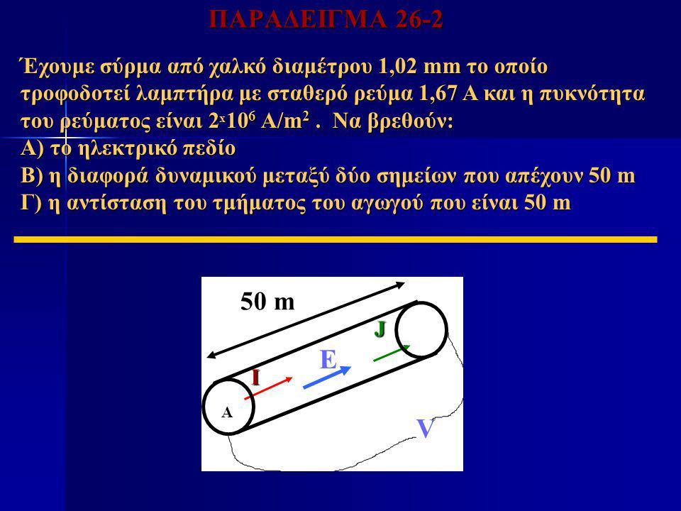 ΠΑΡΑΔΕΙΓΜΑ 26-2 Έχουμε σύρμα από χαλκό διαμέτρου 1,02 mm το οποίο τροφοδοτεί λαμπτήρα με σταθερό ρεύμα 1,67 Α και η πυκνότητα του ρεύματος είναι 2 x 1