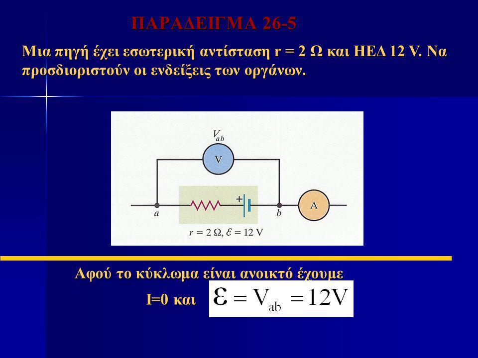 ΠΑΡΑΔΕΙΓΜΑ 26-5 Μια πηγή έχει εσωτερική αντίσταση r = 2 Ω και ΗΕΔ 12 V. Να προσδιοριστούν οι ενδείξεις των οργάνων. Αφού το κύκλωμα είναι ανοικτό έχου