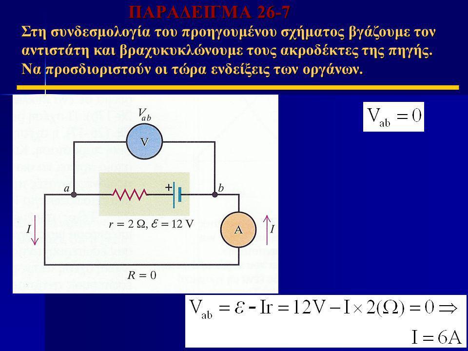 ΠΑΡΑΔΕΙΓΜΑ 26-7 Στη συνδεσμολογία του προηγουμένου σχήματος βγάζουμε τον αντιστάτη και βραχυκυκλώνουμε τους ακροδέκτες της πηγής. Να προσδιοριστούν οι