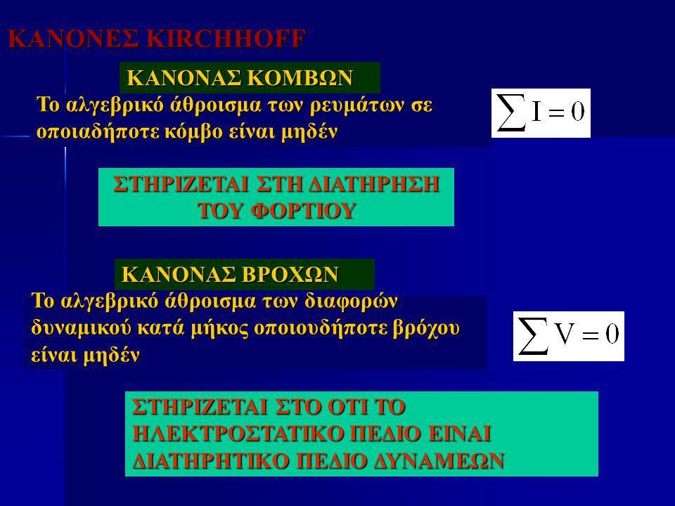 ΚΑΝΟΝΕΣ KIRCHHOFF Το αλγεβρικό άθροισμα των ρευμάτων σε οποιαδήποτε κόμβο είναι μηδέν ΚΑΝΟΝΑΣ ΚΟΜΒΩΝ ΚΑΝΟΝΑΣ ΒΡΟΧΩΝ Το αλγεβρικό άθροισμα των διαφορών