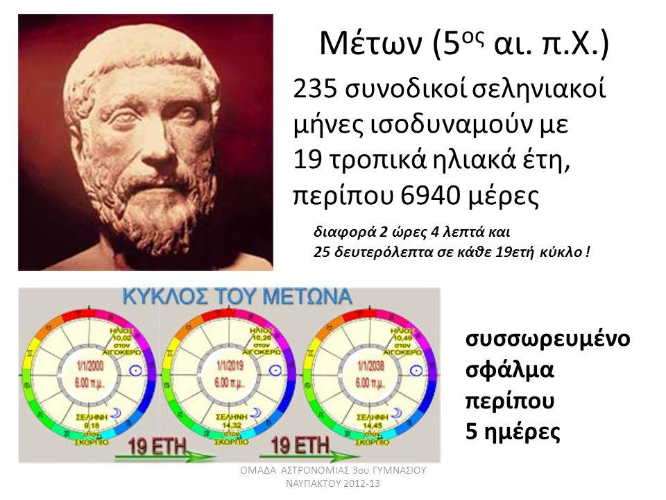 Μέτων (5 ος αι. π.Χ.) 235 συνοδικοί σεληνιακοί μήνες ισοδυναμούν με 19 τροπικά ηλιακά έτη, περίπου 6940 μέρες συσσωρευμένο σφάλμα περίπου 5 ημέρες ΟΜΑ
