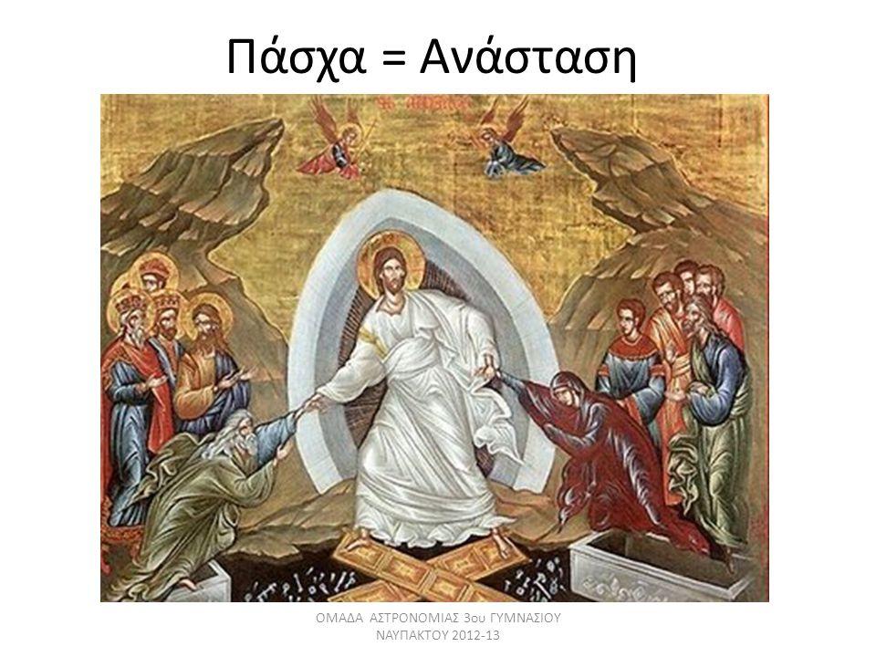 Πάσχα = Ανάσταση ΟΜΑΔΑ ΑΣΤΡΟΝΟΜΙΑΣ 3ου ΓΥΜΝΑΣΙΟΥ ΝΑΥΠΑΚΤΟΥ 2012-13