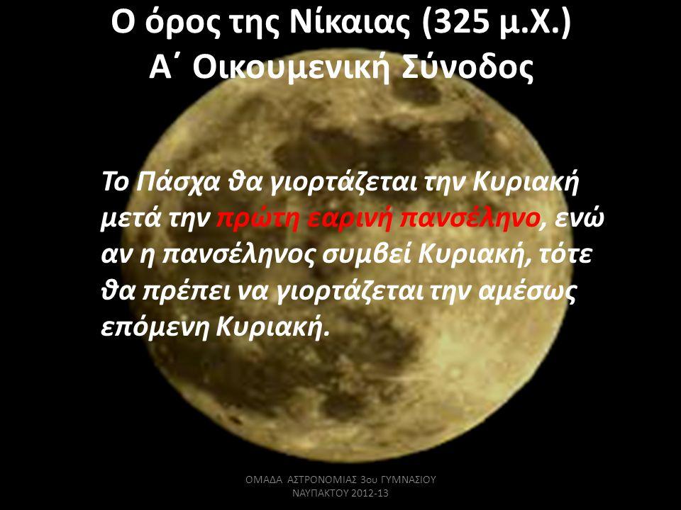 Ο όρος της Νίκαιας (325 μ.Χ.) Α΄ Οικουμενική Σύνοδος Το Πάσχα θα γιορτάζεται την Κυριακή μετά την πρώτη εαρινή πανσέληνο, ενώ αν η πανσέληνος συμβεί Κ