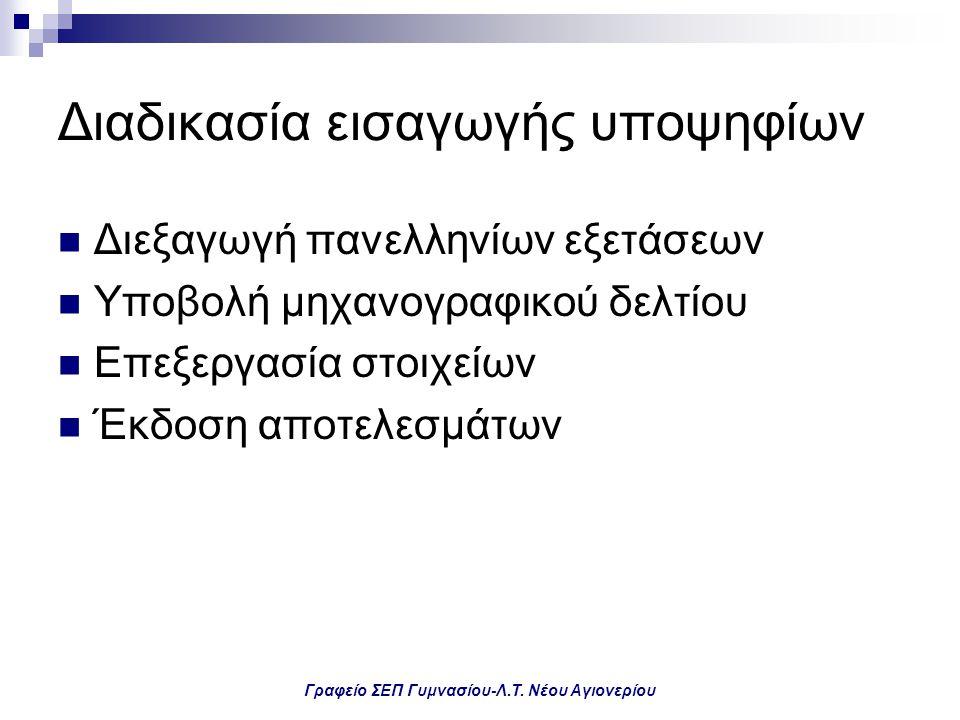 Γραφείο ΣΕΠ Γυμνασίου-Λ.Τ. Νέου Αγιονερίου Διαδικασία εισαγωγής υποψηφίων Διεξαγωγή πανελληνίων εξετάσεων Υποβολή μηχανογραφικού δελτίου Επεξεργασία σ