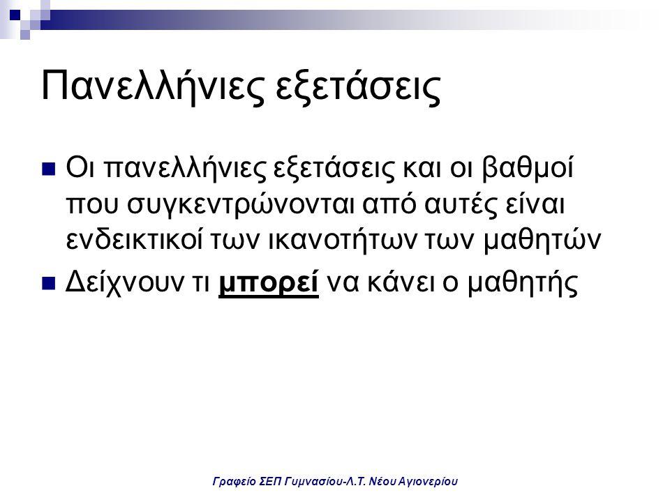 Γραφείο ΣΕΠ Γυμνασίου-Λ.Τ. Νέου Αγιονερίου Πανελλήνιες εξετάσεις Οι πανελλήνιες εξετάσεις και οι βαθμοί που συγκεντρώνονται από αυτές είναι ενδεικτικο